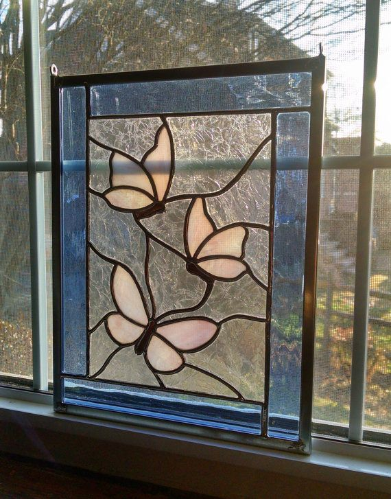 Butterfly Stained Glass Panel - Glass Art - Garden Art - Stained Glass Window - Pastel - Blue and Pink - Spring Decor - Summer Decor