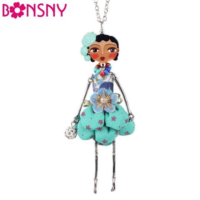 Bonsny Puppe Halskette Kleid Handgemachte Paris Puppe Anhänger trendy 2016 Nachrichten Legierung Mädchen Frauen Blume Modeschmuck Zubehör