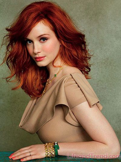 Christina Hendricks Red Hair Color 2013. this hair-do will make my face look like that right??