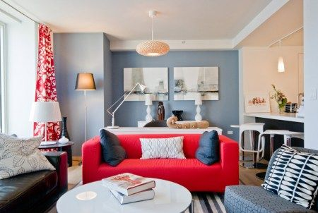Red curtains red sofa blue walls chelsey boatwright for 360 the colour bar salon