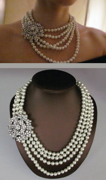 Bridal Necklace, Wedding Jewelry, Multi Strand Pearl Necklace -  Chunky Bold pearl Necklace - Statement Necklace - wedding accessory, PN 02. $70.00, via Etsy.