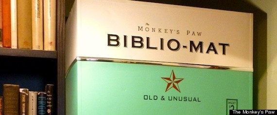 "Vending Machine Dispenses Random Books - ""The Monkey's Paw, an offbeat bookstore in Toronto, has invested in a novel concept (literally) -- a vending machine for books. The machine, which has what owner Stephen Fowler describes as an ""intentionally vintage"" look, dispenses a random book when buyers shell out $2.00."""