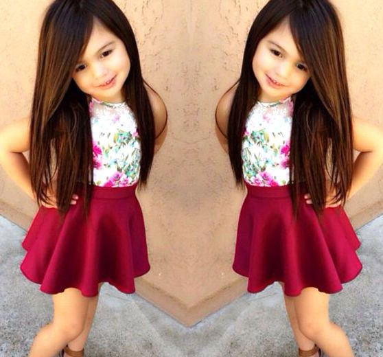 2pcs Baby Girls Dress Floral T-shirt + Wine Red Skirt Set Kids Clothes Outfits #Unbranded #DressyEverydayHoliday