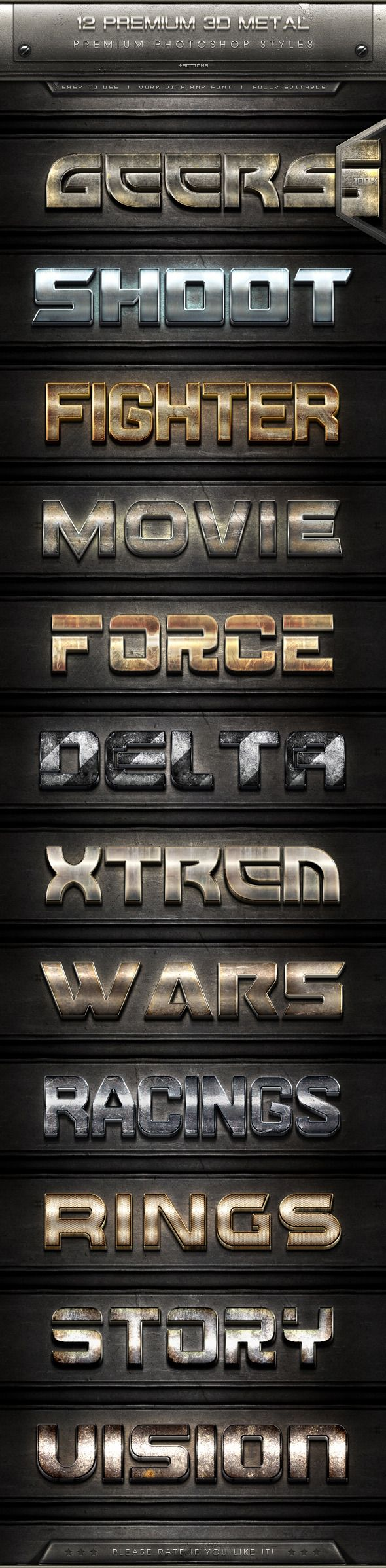 12 Premium 3D Metal Text Effect Styles + Actions - Text Effects Styles