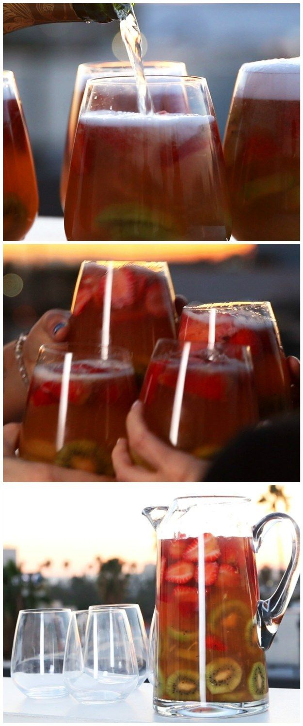 Sparkling Strawberry Kiwi Sangria | This Sparkling Strawberry Kiwi Sangria Is Beyond Refreshing