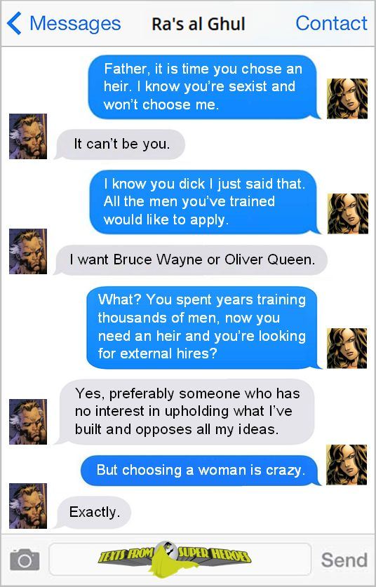 The Lazarus Pit destroys your soul and your common sense.  Texts From Superheroes