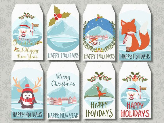 This listing is for instant download, printable Christmas Tags - Gift Bag Tags  You can print them on: - standard 8.5x11 (letter size) or A4 white heavy