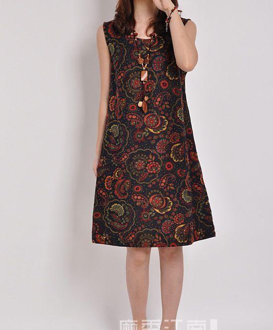 Dark blue linen dress maxi dress sleeveless by originalstyleshop, $56.00