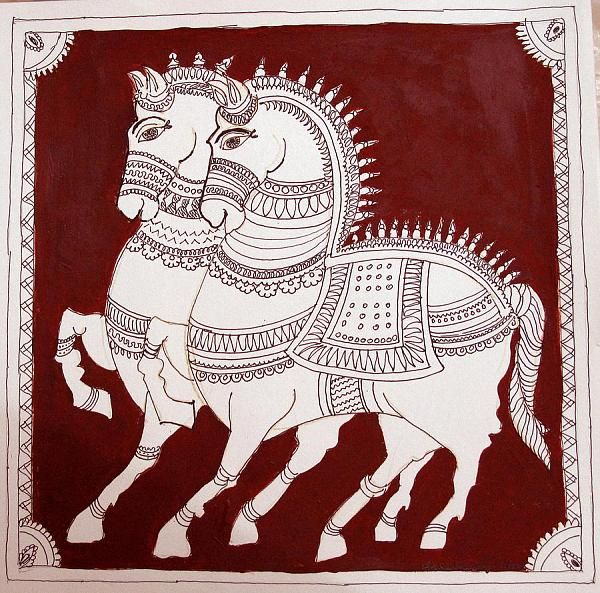 Indian Painting Styles...Kalamkari Paintings (Andhra Pradesh)-kalamkari-horse1-6-.jpg
