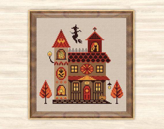 Witch house Cross Stitch Pattern scary home decor by TimeForStitch