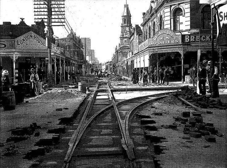 Tramlines being laid along High Street in Fremantle, Western Australia, 1905