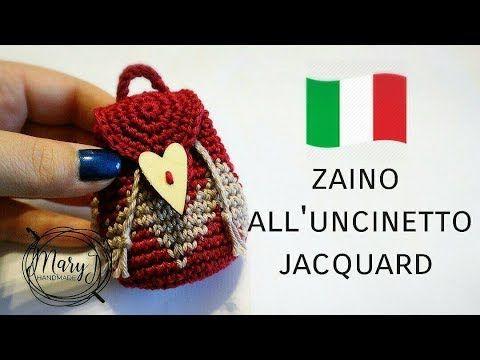 Mini zaino all'uncinetto jacquard/ tapestry | MARYJ HANDMADE - YouTube