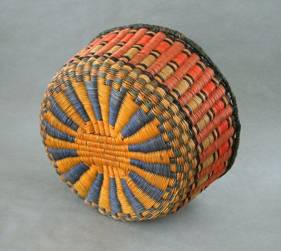 Old Hopi Wicker Woven Basket Bowl 10 x 5 Inch Vivid by OldWestGems, $395.00
