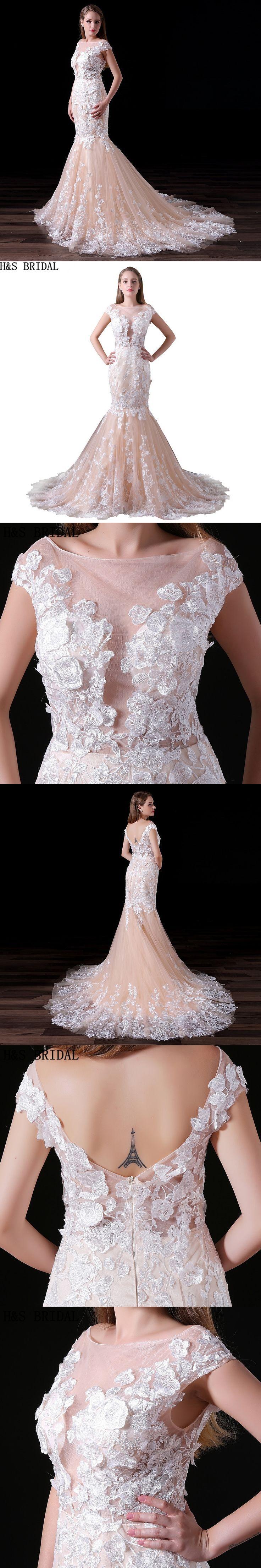 H&S BRIDAL Mermaid Wedding Dresses Cap sleeves Lace Wedding Dress 2018 Champagne Wedding Gowns vestido de noiva wedding-dress