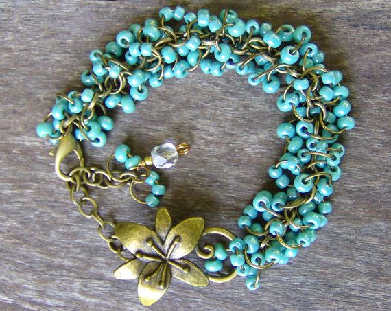Handmade Turquoise Beaded Jewelry Bracelet by TheeElegantBohemian on etsy.