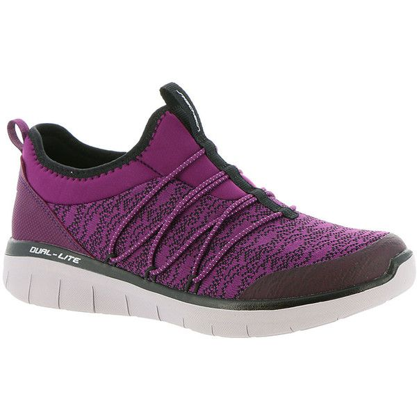 Skechers Sport Synergy 2.0 Simply Chic Women's Purple Sneaker (1,145 EGP) ❤ liked on Polyvore featuring shoes, sneakers, purple, slip-on sneakers, purple shoes, skechers footwear, slip on trainers and slip-on shoes