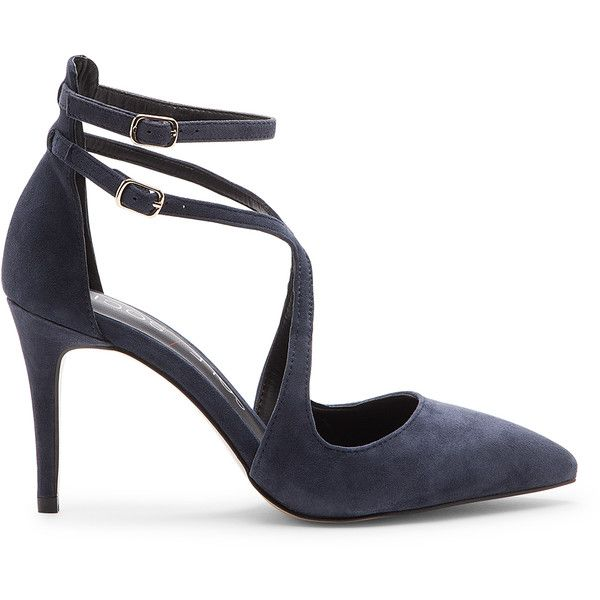 Sole Society Lux Ankle Strap Pump found on Polyvore featuring shoes, pumps, shoes and boots, navy, navy blue pumps, navy blue shoes, strappy pumps, pointed-toe pumps and navy pumps