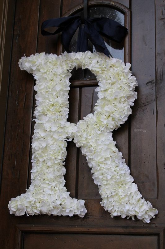 Hydrangea Covered Wedding Letter 24 Inch. $135.00, via Etsy. - I think I can make this!