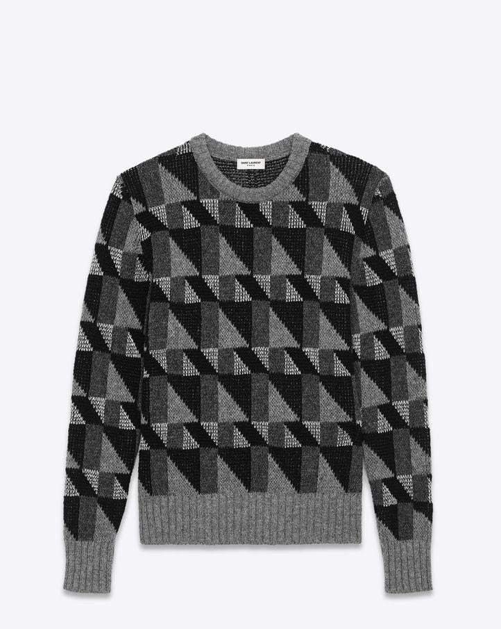 Pull col rond en mélange laine shetland et lurex à tissage géométrique noir et argent
