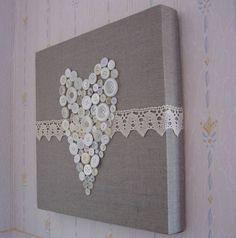 cadre toile, coeur boutons et dentelle