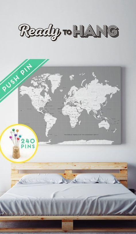 Benutzerdefinierte große Welt Karte rustikaler CANVAS grau weiß - Ländern, Hauptstädten, USA und Kanada-Staaten - personalisierte Geschenkidee Pin es Karte, 240 Pins