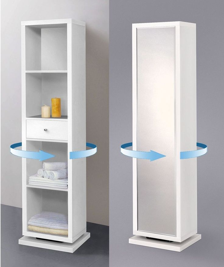 White Full Length Mirror Swivel Cabinet Shelving Unit Bathroom Storage Furniture