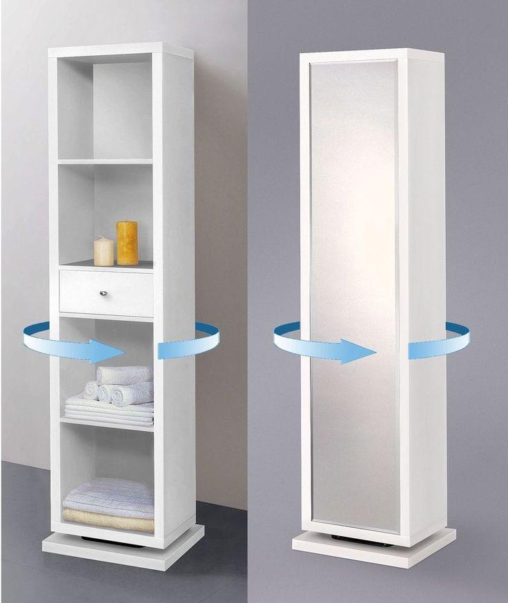 White Full length Mirror Swivel Cabinet Shelving Unit Bathroom Storage Furniture #WhiteFull