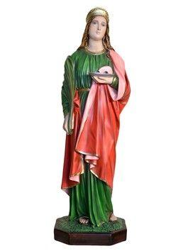 Statua S. Lucia cm. 85 altezza cm. 85 in resina vuota disponibile anche in vetroresina dipinta con colori acrilici e finiture ad olio disponibile anche con occhi di vetro La statua di Santa Lucia è disponibile al seguente link http://www.ovunqueproteggimi.com/collezione-statue/sante/lucia/
