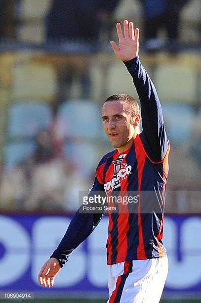 Aniello Cutolo of Crotone greets his supporters after his goal during the Serie B match between Modena FC and FC Crotone at Alberto Braglia Stadium...