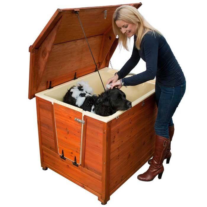 Large Dog House Grooming Kennel Shower Dog Bath Tub Wash Ramp Steps Wood Roof #DoggyShouse