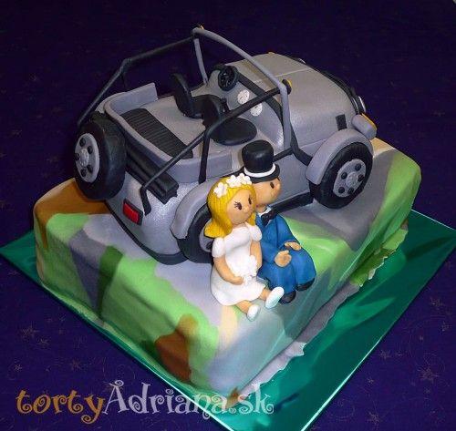 Svadobné torty, poschodové svadobne torty » Svadobná torta auto - Jeep, ženích a nevesta v Tatrách