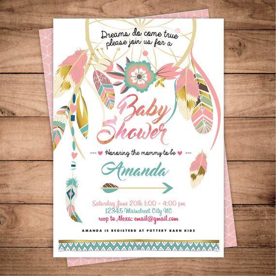 Dreamcatcher boho Baby Shower invitation Digital by FansterDesign