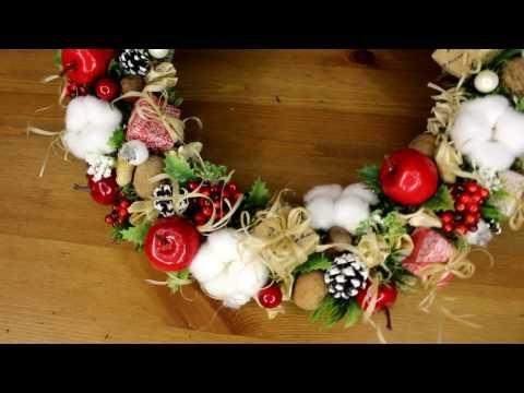 (147) Оригинальный подарок на Новый год своими руками (Рождественский венок) - YouTube