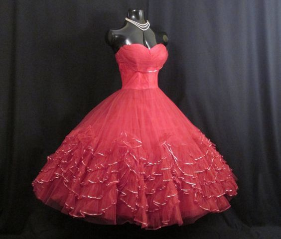 Vintage 1950's 50s Bombshell Strapless RED Tulle Tiered