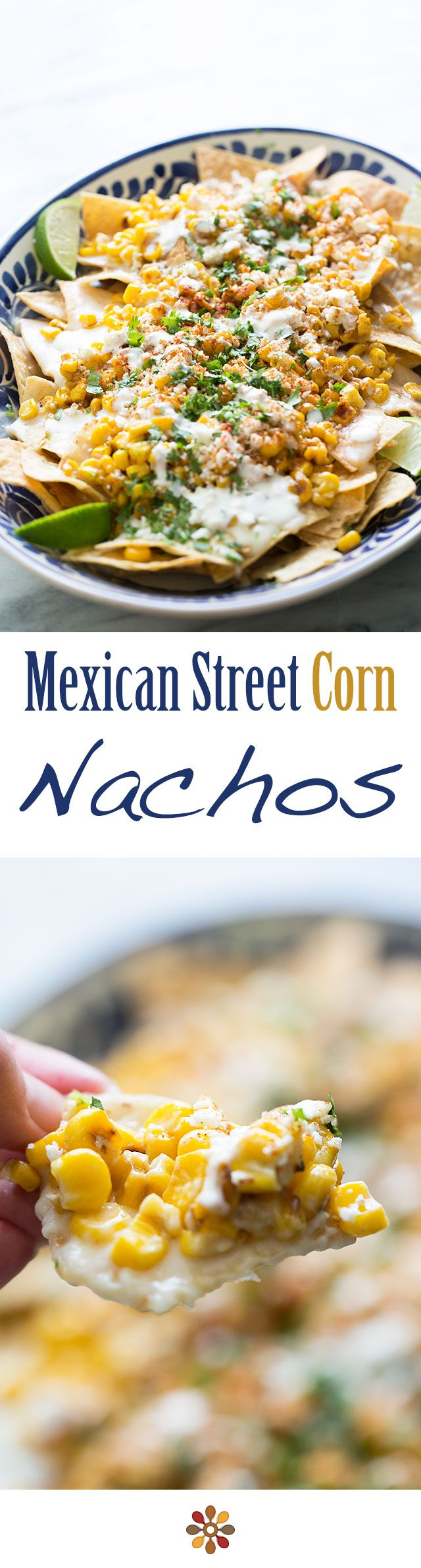 Street Corn Nachos - Tortilla chips topped a creamy monterey jack cheese sauce, toasted corn, crumbled cotija, chili powder and cilantro. Perfect for a game day gathering or fiesta!