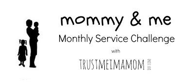 Join Our Monthly Mommy & Me Service Challenge!  You'll receive an email each month with a challenge along with simple & inexpensive ways to serve with your kids.  They can be small acts of kindness or large community service projects... whatever you have time & energy for!