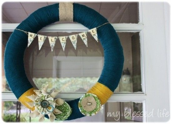 I love the scrabble pennant banner and layout of embellishments!: Wreaths Tutorials, Deep Teal, Front Doors, Scrabble Tile, Fall Wreaths, Wreaths Ideas, Teal Yarns, Yarns Wreaths, Fabrics Flowers