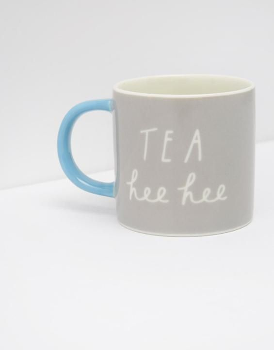 Joules Cuppa Mug, lettering, type, design, typography, grey and blue