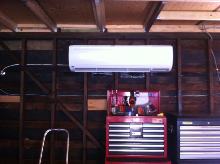 Carrier Ductless air conditioner in garage.