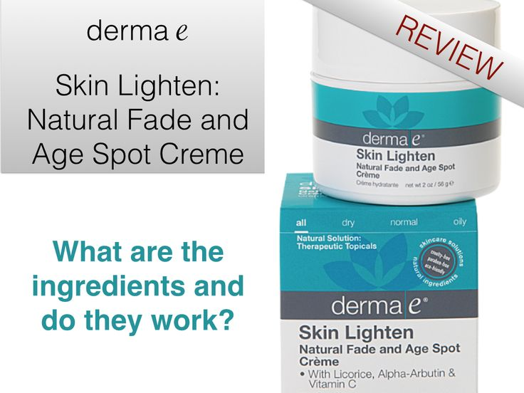 Skin care: A positive review of the natural ingredients and results of derma e's Skin Lighten, a skin whitening product. Includes an ingredient glossary with descriptions and clinical studies of skin lightening ingredients.