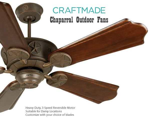 Craftmade Chaparral Damp Location Fan Rustic Outdoor Ceiling