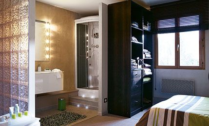 25 beste idee n over salle d eau op pinterest douche for Douche ouverte sur chambre