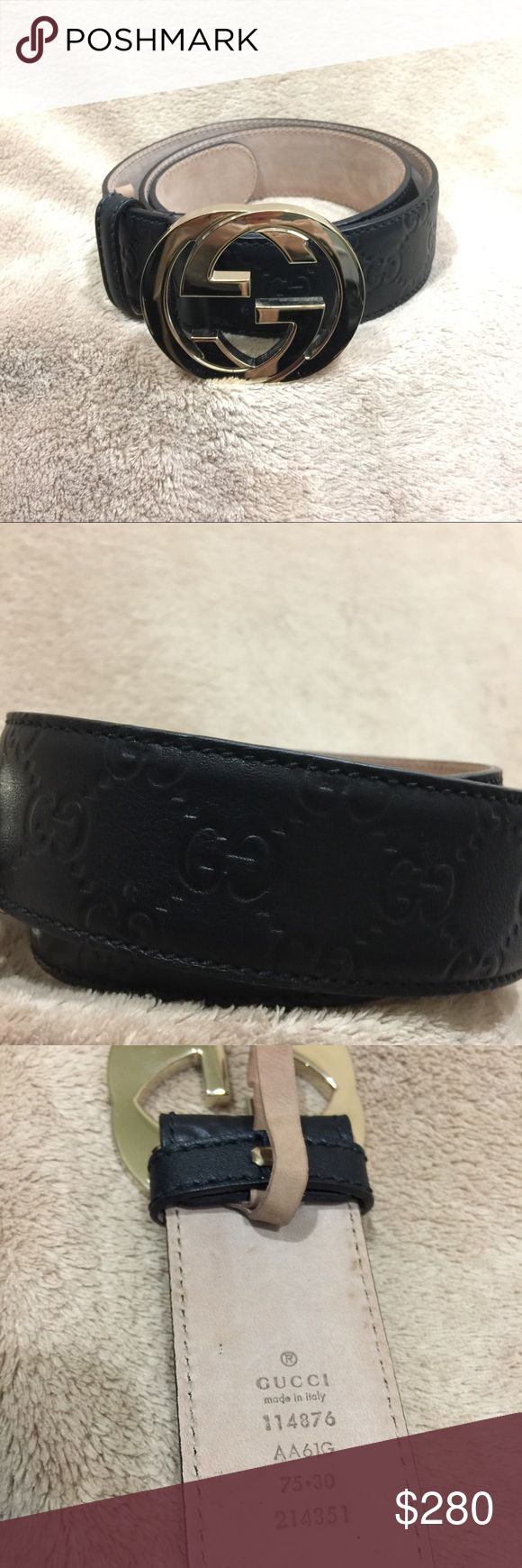 "Gucci Signature Leather Belt NWOT, Authentic Signature interlocking G buckle belt made in heat debossed Gucci Signature leather resulting in a defined print with a firm texture. Purchased straight from Gucci online store. It was too small for me and i never returned it. Comes with Box & Dust Bag.   30% off 3+ items in my closet.  Gold toned hardware Black Gucci Signature leather Interlocking G buckle 1.5"" width Made in Italy. Gucci belts are in Italian sizes. See size guide from Gucci…"