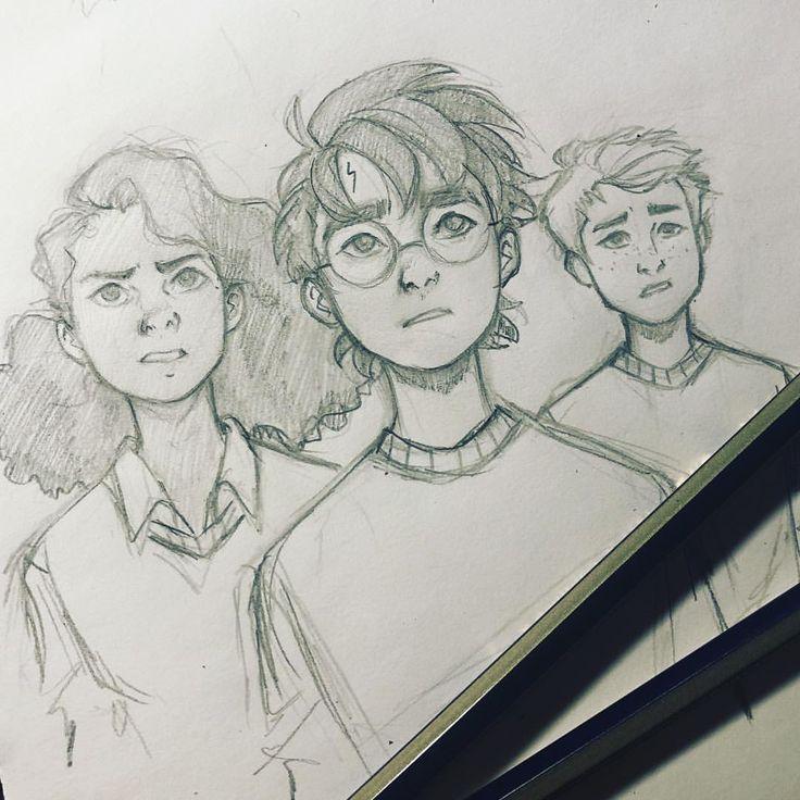 How To Draw Harry Potter Step By Step To Draw Cartoon Character Harry Hermione Ron Harry Potter Journal Zeichnen Lernen Mit Bleistift Ideen Furs Zeichnen