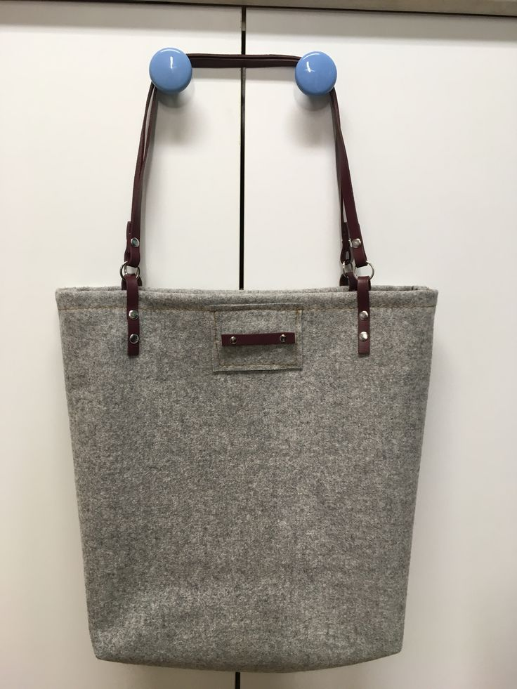 Grey Felt and Burgundy Leather Tote by Junie8ug