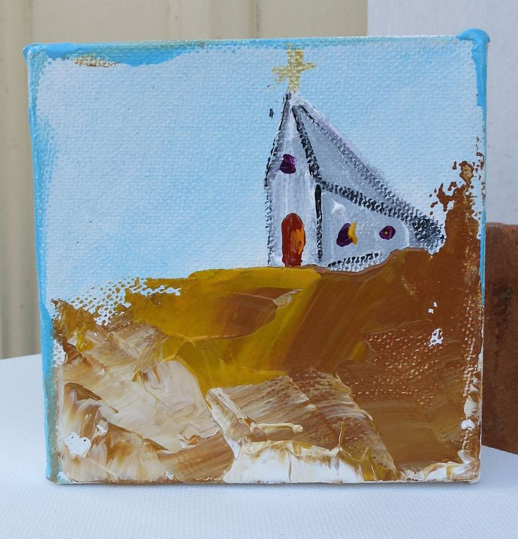 """4""""x4"""" Original Church Painting Signed Ready to hang All sides are painted and it is gallery wrapped Super thick textured paint with high gloss varnish Please email me with any questions that you might"""