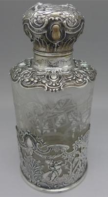 German RARE Hanau Silver Glass Tall Perfume Bottle