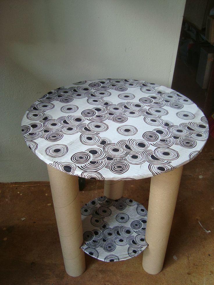 Mesa de tubo de papelão, papelão de embalagem e tecido!