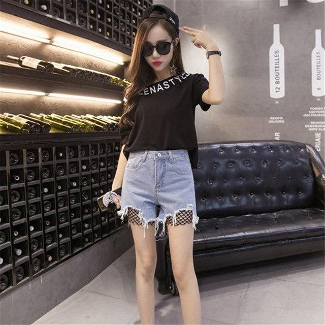 Cool Summer Denim Shorts Loose Plus Size S-5Xl Hollow Out Holes Nets Tassel Street Short Jeans 4 Colors Light blue 4XL 2