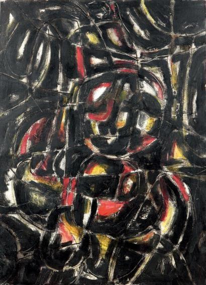 Ladislas Kijno Composition, 1957 Huile sur papier marouflée sur toile, signée en haut à gauche et datée 57 73 x 100 cm